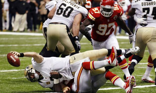 New Orleans Saints quarterback Drew Brees (9) is sacked for a safety in the second half of an NFL football game against the Kansas City Chiefs in New Orleans, Sunday, Sept. 23, 2012. (AP Photo/Bill Haber)