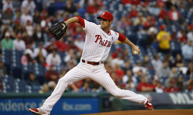 Philadelphia Phillies' Cole Hamels pitches during the first inning of a baseball game against the San Diego Padres, Wednesday, June 11, 2014, in Philadelphia. (AP Photo/Matt Slocum)
