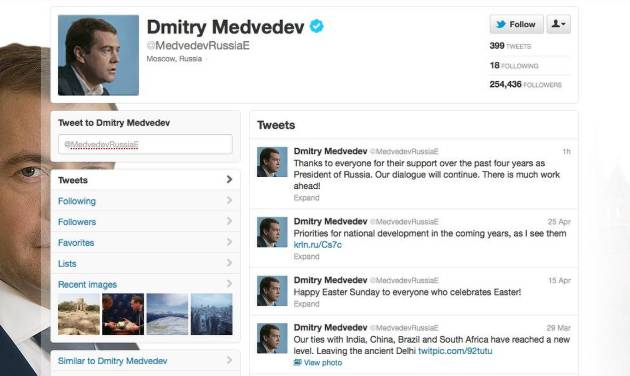 "This is a screenshot taken from Dmitry Medvedev's Twitter page Monday May 7, 2012. Dmitry Medvedev, Russia's one-time tweeter-in-chief, was characteristically modest and a little flat when his term as president came to an end Monday: ""Thanks to everyone who showed me support in four years in the post of Russian president. We'll continue our contact. There's a lot of work ahead,"" he tweeted an hour after Vladimir Putin was inaugurated as his replacement. It was the end of an era, the kind of moment when a Twitter buff might unleash a barrage of 140-character spurts of sentiment, humor or self-aggrandizement. (AP Photo/Twitter)"