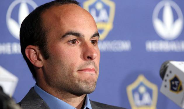 Los Angeles Galaxy forward Landon Donovan, widely considered as America's best ever footballer, announces will retire at the end of the MLS season, at a news conference at StubHub Center in Carson, Calif., Thursday, Aug. 7, 2014. The 32-year-old is the top goal scorer in MLS history and a five-time league champion.  (AP Photo/Nick Ut)