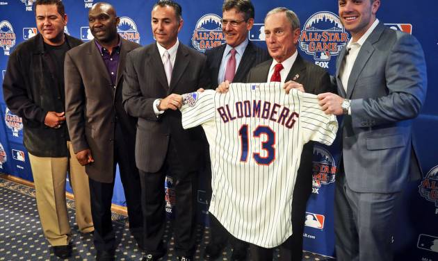 New York Mets Legends and Club Ambassadors, from left, Edgardo Alfonzo, Mookie Wilson, and John Franco, Major League Baseball Executive Vice President Tim Brosnan, Mayor Michael R. Bloomberg, and Mets third baseman David Wright, pose with a mets jersey presented to the mayor after a news conference to outline the festivities for baseball's All-Star game on Wednesday, April 24, 2013 in New York. The Mets are hosting the All-Star game on July 16. (AP Photo/Bebeto Matthews)