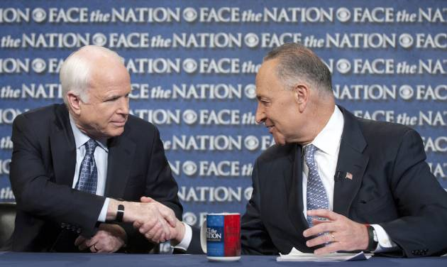 "In this photo released by CBS News Sen. John McCain, R-Ariz., and Sen. Chuck Schumer, D-N.Y., appear on Sunday, April 7, 2013, on's CBS's  ""Face the Nation"".  McCain and Schumer spoke about gun legislation, the latest developments with North Korea and immigration.  (AP Photo/CBS News, Chris Usher)"
