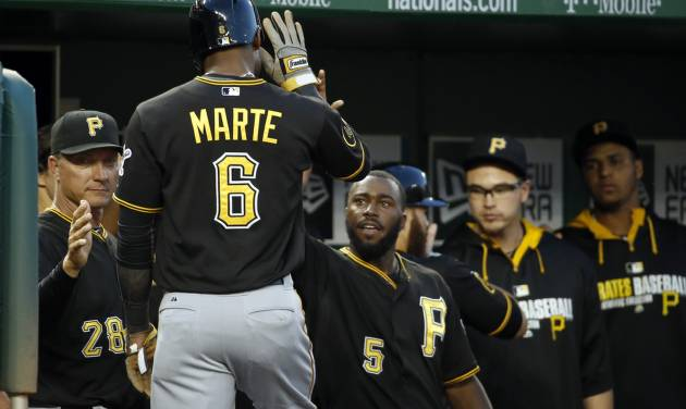Pittsburgh Pirates' Starling Marte (6) celebrates with his teammates after scoring during the third inning of a baseball game against the Washington Nationals at Nationals Park, Saturday, Aug. 16, 2014, in Washington. (AP Photo/Alex Brandon)