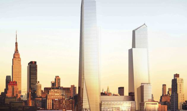 This undated artist's rendering, provided by Related/Oxford, shows the planned Hudson Yards development project by the Hudson River on the west side of Manhattan, as it would be seen from New Jersey.  Next year, Hudson Yards' tallest building is going up - an 80-story skyscraper with an observation deck higher than the Empire State Building, pictured at left. It will be home to the corporate headquarters of Time Warner in 2019. (AP Photo/Related/Oxford)