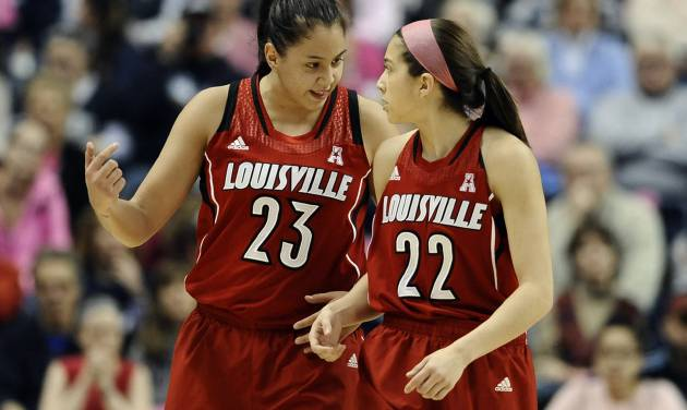 Louisville's Shoni Schimmel, left, and sister Jude Schimmel talk to one another after a missed pass between the two during the first half of an NCAA women's college basketball game against Connecticut, Sunday, Feb. 9, 2014, in Storrs, Conn. Connecticut won 81-64. (AP Photo/Jessica Hill)