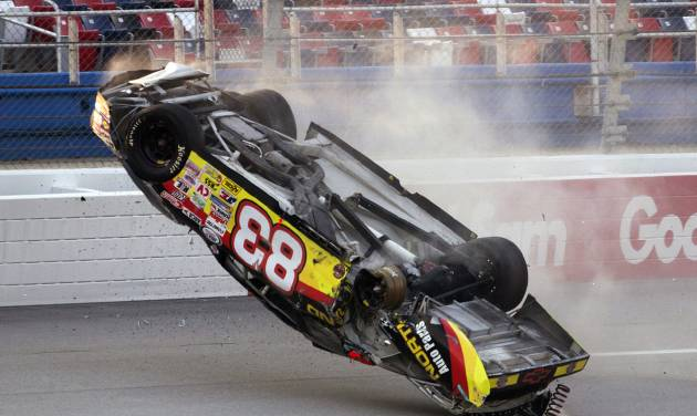 Mike Affarano (83) flips his car during the International Motorsports Hall of Fame 250 ARCA auto race at the Talladega Superspeedway in Talladega, Ala., Friday, May 4, 2012. (AP Photo/Dave Martin)