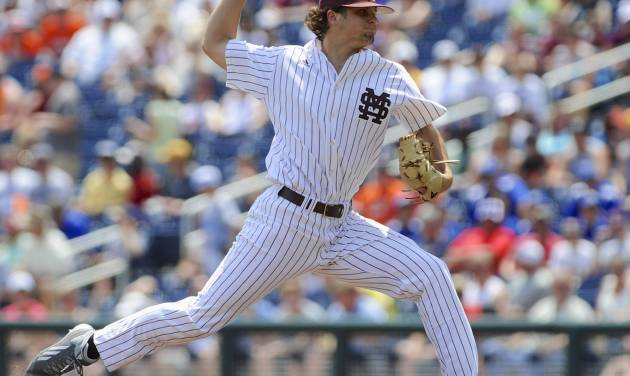 Mississippi State starting Kendall Graveman delivers against Oregon State in the first inning of an NCAA College World Series baseball game in Omaha, Neb., Friday, June 21, 2013. (AP Photo/Eric Francis)