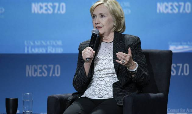Former Secretary of State Hillary Rodham Clinton speaks at the National Clean Energy Summit Thursday, Sept. 4, 2014, in Las Vegas. (AP Photo/John Locher)