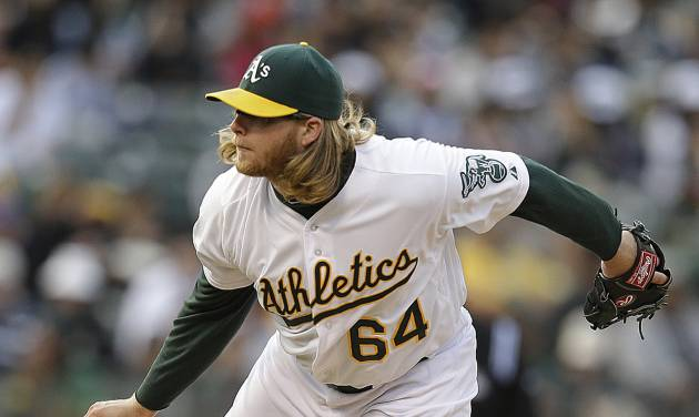 Oakland Athletics' A.J. Griffin follows through on a pitch to the Toronto Blue Jays in the first inning of a baseball game Monday, July 29, 2013, in Oakland, Calif. (AP Photo/Ben Margot)