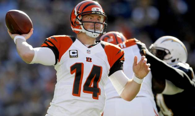 Cincinnati Bengals quarterback Andy Dalton throws a pass against the San Diego Chargers during the first half of an NFL football game, Sunday, Dec. 2, 2012, in San Diego. (AP Photo/Lenny Ignelzi )