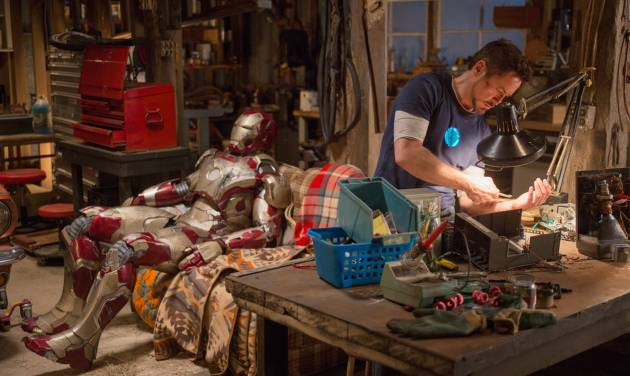 """This film publicity image released by Disney-Marvel Studios shows Robert Downey Jr. as Tony Stark in a scene from """"Iron Man 3.""""  (AP Photo/Disney, Marvel Studios, Zade Rosenthal)"""