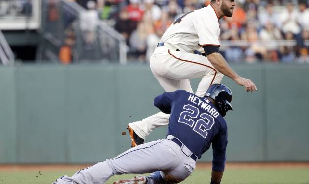 San Francisco Giants second baseman Brandon Hicks, top, turns a double play over Atlanta Braves' Jason Heyward (22) on a ground ball from Justin Upton during the first inning of a baseball game on Monday, May 12, 2014, in San Francisco. (AP Photo/Marcio Jose Sanchez)