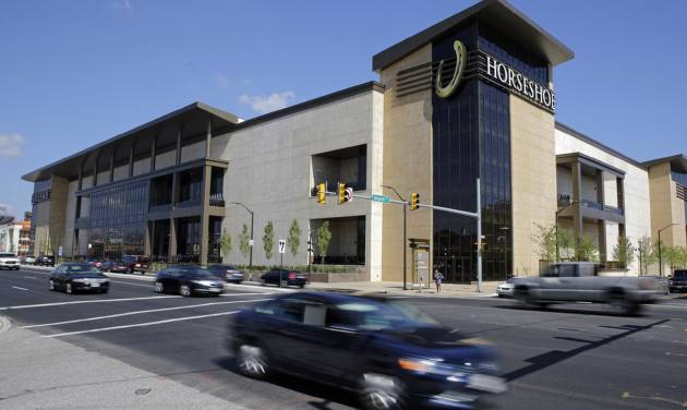 "This Aug. 25, 2014 picture shows the Horseshoe Casino in Baltimore. The casino opened its doors Tuesday, and it's the last of five to open in Maryland after lawmakers legalized gambling in the state. Baltimore Mayor Stephanie Rawlings-Blake called the casino a ""springboard for growth"" for the city, adding that the casino will employ more than 2,400, more than half from Baltimore. (AP Photo/Patrick Semansky)"