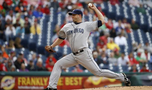 San Diego Padres' Eric Stults pitches during the first inning of a baseball game against the Philadelphia Phillies, Thursday, June 12, 2014, in Philadelphia. (AP Photo/Matt Slocum)