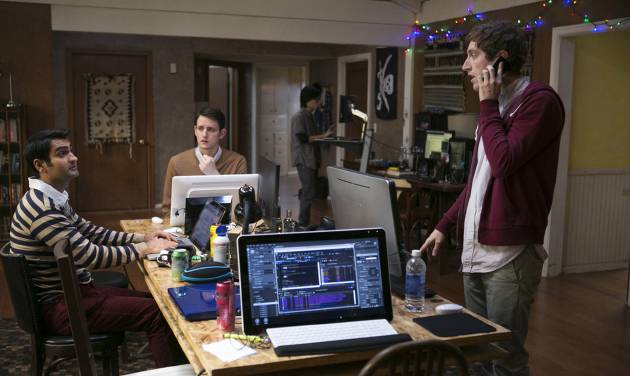 "This photo released by HBO shows, from left, Kumail Nanjiani, Zach Woods, and Thomas Middleditch, in a scene from the television series, ""Silicon Valley,"" episode 3. With the final episode looming on Sunday, June 1, 2014, ""Silicon Valley"" has been upped for a second season, good news for local techies who tweet, blog, chat and gather to tune in en masse to watch five of their doppelgangers awkwardly talk to women, seek venture capital and try to launch a startup called Pied Piper, which even has its own mock website. (AP Photo/HBO, Jaimie Trueblood)"