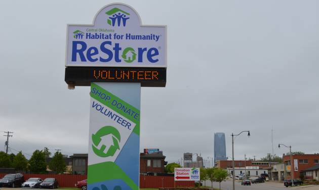 New sign at Central Oklahoma Habitat ReStore, 1800 N Broadway Ave. [PHOTO PROVIDED]