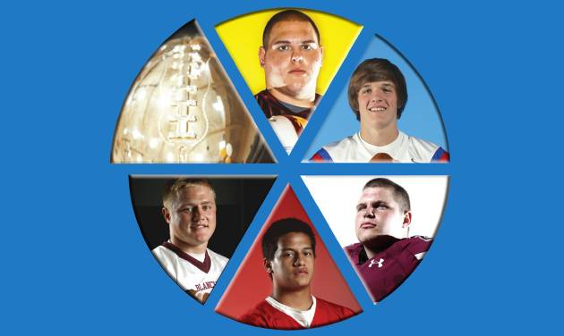 Clockwise from top: Clinton's Grant Lee, Oklahoma Christian School's Cameron James, Jenks' Trent Taber, Carl Albert's Robert Lolofie and Blanchard's Braden Stringer are all chasing another gold ball.  PHOTOS BY NATE BILLINGS, SARAH PHIPPS, CHRIS LANDSBERGER AND BRYAN TERRY, THE OKLAHOMAN; illustration by Hayley Riggs McGhee