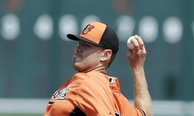 Baltimore Orioles starting pitcher Chris Tillman throws during the first inning of a spring exhibition baseball game against the Pittsburgh Pirates in Bradenton, Fla., Monday, March 10, 2014. (AP Photo/Carlos Osorio)