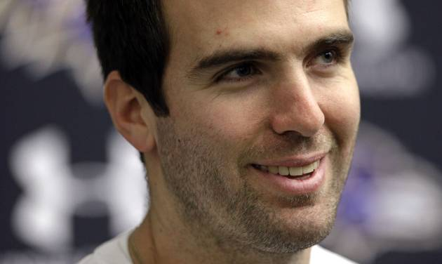 Baltimore Ravens quarterback Joe Flacco speaks at a news conference at the team's practice facility in Owings Mills, Md., Monday, Jan. 21, 2013. The Ravens are scheduled to face the San Francisco 49ers in Super Bowl XLVII in New Orleans on Sunday, Feb. 3. (AP Photo/Patrick Semansky)