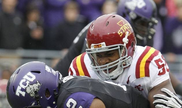 TCU quarterback Trevone Boykin (2) is sacked by Iowa State linebacker Jared Weaver (58) during the first half of an NCAA college football game on Saturday, Oct. 6, 2012, in Fort Worth, Texas. Iowa State won 37-23. (AP Photo/LM Otero)