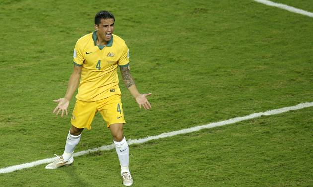 Australia's Tim Cahill reacts as the referee disallowes a goal during the group B World Cup soccer match between Chile and Australia in the Arena Pantanal in Cuiaba, Brazil, Friday, June 13, 2014. (AP Photo/Michael Sohn)