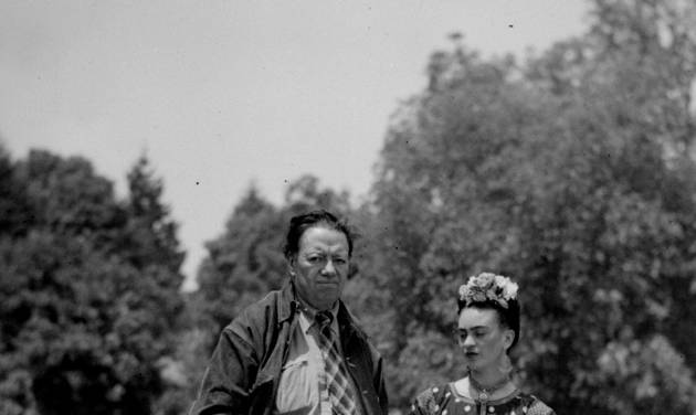 "FILE - This April 13, 1939 file photo shows Mexican muralist Diego Rivera and his artist wife Frida Kahlo at their home in Mexico City. The Detroit Institute of Arts announced Monday, May 5, 2014, that it is planning an exhibition for next year that focuses on the period between April 1932 and March 1933, which the museum refers to as ""a pivotal turning point in each artist's career."" The show, which is scheduled to run from March 15, 2015, through July 12, 2015, will feature 80 artworks, including Rivera's preparatory drawings for the Detroit Industry murals. (AP Photo, File)"