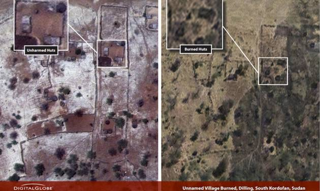 This combination satellite image taken by DigitalGlobe and released Thursday, Dec. 6, 2012 by the Enough Project, is claimed by the Satellite Sentinel Project to show before and after imagery taken March 27, 2012, left, and Nov. 26, 2012, right, of a burned village near Dilling in the South Kordofan region of Sudan. George Clooney, through the Satellite Sentinel Project which he helped found, said Thursday that satellite imagery shows that 26 villages, food crops and grasslands were intentionally burned in a 54-square-mile (140-square-kilometer) area of the Nuba Mountains of Sudan in November 2012. (AP Photo/DigitalGlobe via Enough Project)