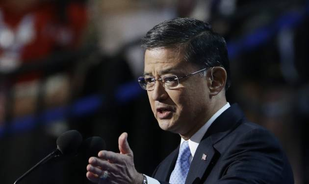 FILE-This Wednesday, Sept. 5, 2012 file photo shows General Eric Shinseki speaking to delegates at the Democratic National Convention in Charlotte, N.C. U.S. House Speaker John Boehner said the system for handling veterans' disability claims is broken and he wants the head of the Department of Veterans Affairs, Shinseki, to explain what is being done to fix it. (AP Photo/Lynne Sladky, File)