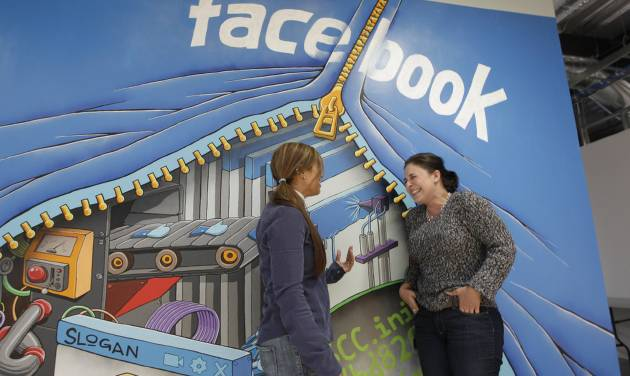 In this Feb. 8, 2012 photo shows two workers inside of Facebook headquarters in Menlo Park, Calif. Facebook stock is expected to begin trading publicly on May 18. Market pros and average investors alike are sizing up the company's strengths and weaknesses. The key question: Can Facebook parlay its vast legions of users into huge profits, as Google did following its 2004 initial public offering? (AP Photo/Paul Sakuma)