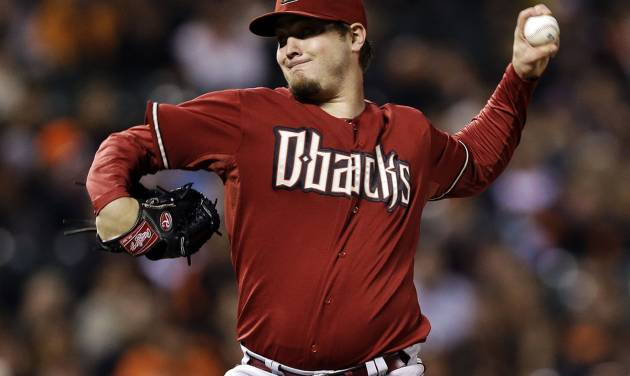 Arizona Diamondbacks starting pitcher Wade Miley throws to the San Francisco Giants during the first inning of a baseball game, Wednesday, Sept. 26, 2012, in San Francisco. (AP Photo/Marcio Jose Sanchez)