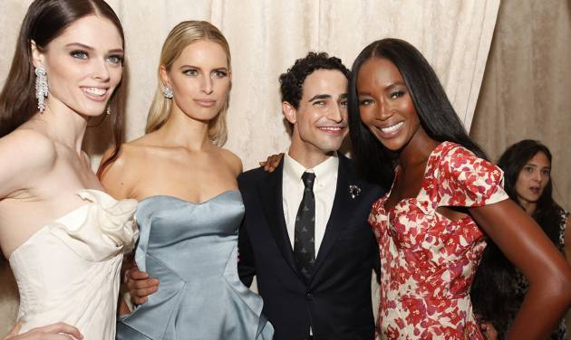 Models Coco, Karolina Kurkova, designer Zac Posen and model Naomi Campbell are seen at the Zac Posen Spring 2013 Runway Show on Sunday, Sept. 9, 2012 in New York. (Photo by Amy Sussman/Invision/AP Images)