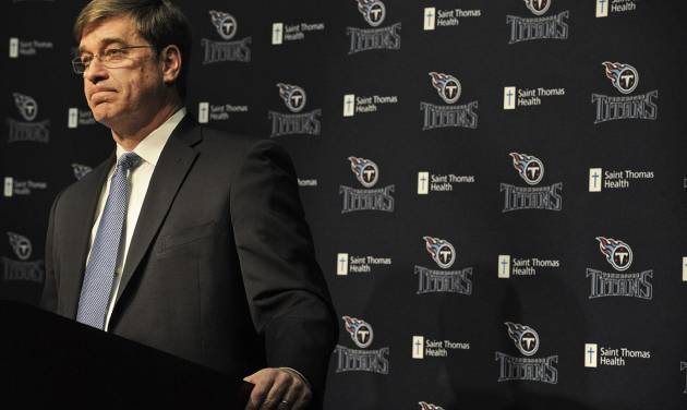 Tennessee Titans general manager Ruston Webster addresses the media during an NFL football news conference announcing the firing of coach Mike Munchak Saturday, Jan. 4, 2014, in Nashville, Tenn. (AP Photo/The Tennessean, John Partipilo)  NO SALES