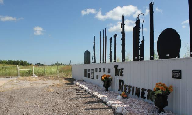 A memorial now stands in the place of a refinery that once operated in Cyril. Hailey Branson-Potts/The Oklahoman