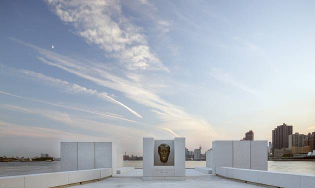 This Aug. 24, 2012 photo provided by FDR Four Freedoms Park LLC, shows the New York City memorial park, honoring President Franklin D. Roosevelt, that has been completed 40 years after the original design was created. The Franklin D. Roosevelt Four Freedoms Park on the southern tip of 2-mile-long Roosevelt Island - between Manhattan and Queens - is being dedicated Wednesday, Oct. 17, 2012, in a ceremony to be attended by dignitaries including former President Bill Clinton and Mayor Michael Bloomberg. (AP Photo/FDR Four Freedoms Park LLC, Paul Warchol)