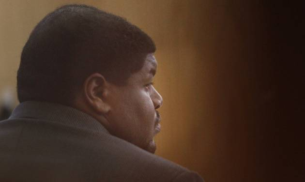 Josh Brent, a former Dallas Cowboys player, listens a witness testifies during his trial at the Frank Crowley Courts building in Dallas, Monday, Jan. 13, 2014. Brent is charged with intoxication manslaughter in the December 2012 death of his friend and former college teammate, Jerry Brown, in a December 2012 crash. (AP Photo/The Dallas Morning News, Kye R. Lee)