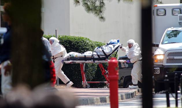 Nancy Writebol, an American aid worker from North Carolina who was infected with the Ebola virus while working in Liberia, arrives at Emory University Hospital in Atlanta, Tuesday, Aug. 5, 2014.  Writebol is expected to be admitted to the hospital, where she will join another U.S. aid worker, Dr. Kent Brantly, in a special isolation unit. (AP Photo/(AP Photo/The Journal & Constitution, John Spink)
