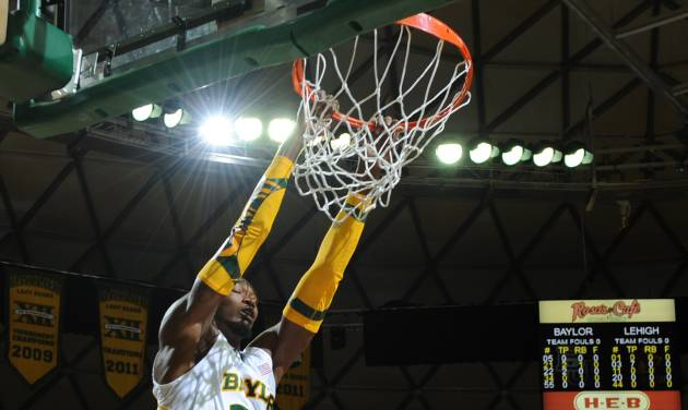 Baylor's Cory Jefferson (34), left, scores over Lehigh's Conroy Baltimore (44), right and Mackey McKnight (11), left, in the first half of an NCAA college basketball game on Friday, Nov. 9, 2012, in Waco, Texas. (AP Photo/Waco Tribune Herald, Rod Aydelotte)