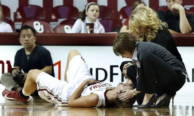UNIVERSITY OF OKLAHOMA WOMEN'S BASKETBALL / OU WOMEN'S BASKETBALL / INJURED: Whitney Hand is attended to by trainer Carolyn Loon and head coach Sherri Coale following an injury as the University of Oklahoma Sooners (OU) play the North Texas Mean Green in NCAA, women's college basketball at The Lloyd Noble Center on Thursday, Dec. 6, 2012  in Norman, Okla. Photo by Steve Sisney, The Oklahoman