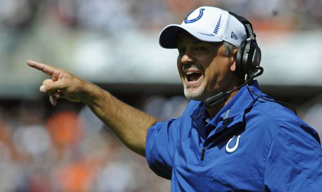 Indianapolis Colts head coach Chuck Pagano shouts out to his team during the first half of an NFL football game against the Chicago Bears in Chicago, Sunday, Sept. 9, 2012. (AP Photo/Jim Prisching)