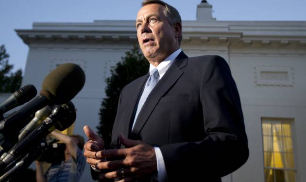 House Speaker John Boehner, R-Ohio, speaks to reporters following a meeting with President Barack Obama at the White House in Washington, Wednesday, Oct. 2, 2013.  (AP Photo/Manuel Balce Ceneta)