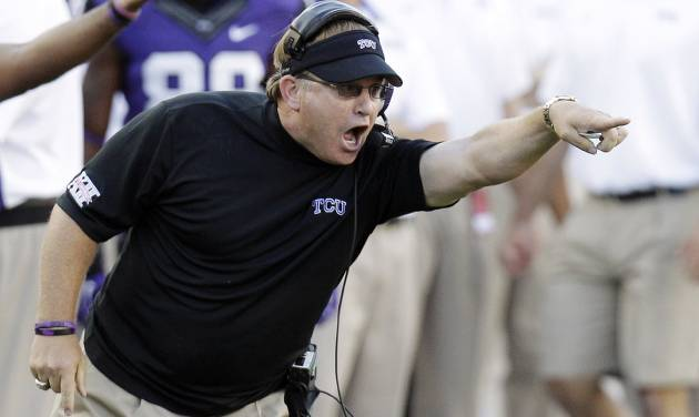 FILE - In this Sept. 8, 2012, file photo, TCU head coach Gary Patterson yells from the sideline during the first half of an NCAA college football game against Grambling State in Fort Worth, Texas. Everything seemed to go so perfect in a season opener for the 16th-ranked Frogs. Coach Patterson showed them mistakes on film and used a fresh reminder courtesy of fellow Big 12 team Oklahoma State, which followed an opening 84-0 win with a three-touchdown loss on the road. (AP Photo/LM Otero, File)