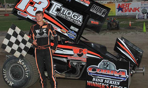 ADDS MANDATORY CREDIT  - This July 5, 2014 photo provided by Empire Super Sprints, Inc., shows sprint car driver Kevin Ward Jr., in the vicotry lane with his car at the Fulton Speedway in Fulton, N.Y. Ward was killed Saturday, Aug. 9, 2014 at the Canandaigua Motorsports Park in Central Square, N.Y., when the car being driven by Tony Stewart struck the 20-year-old who had climbed from his crashed car and was on the darkened dirt track trying to confront Stewart following a bump with Stewart one lap earlier. (AP Photo/Empire Super Sprints, Inc.)