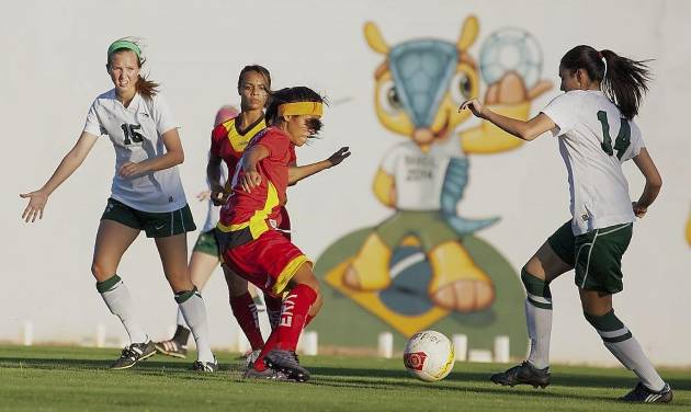 The Oklahoma Baptist University women's soccer team competes against a Brazilian team in an exhibition game that was part of an outreach event sponsored by a Brazilian church as part of OBU team's recent visit to the Brazil. Photo provided by Southern Baptist Convention's International Mission Board
