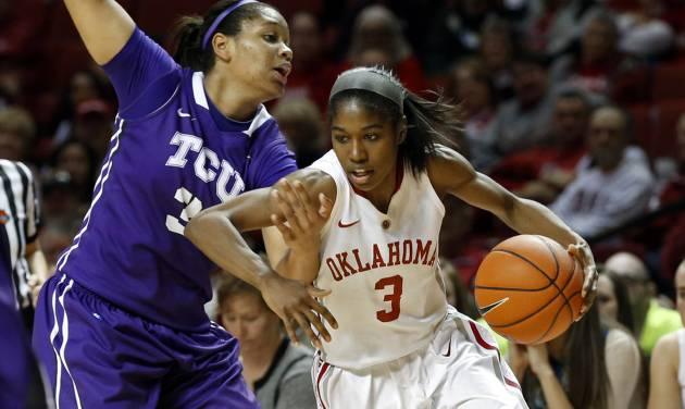 Oklahoma Sooner's Aaryn Ellenberg (3) drives around TCU Horned Frog's Veja Hamilton (3) in the second half as the University of Oklahoma Sooners (OU) defeat the Texas Christian University Horned Frogs (TCU) 63-52 in NCAA, women's college basketball at The Lloyd Noble Center on Saturday, Jan. 25, 2014 in Norman, Okla. Photo by Steve Sisney, The Oklahoman