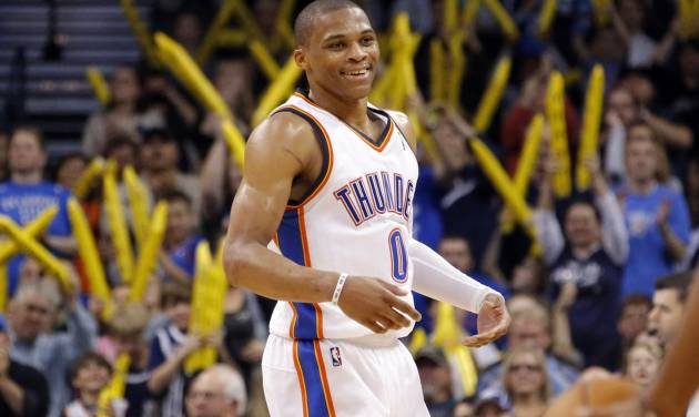Oklahoma City's Russell Westbrook (0) celebrates during the NBA game between the Oklahoma City and the Utah Jazz and the Chesapeake Energy Arena, Friday,Nov. 30, 2012. Photo by Sarah Phipps, The Oklahoman