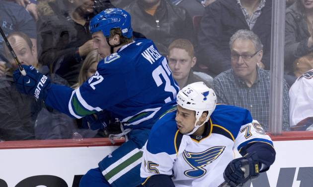 Vancouver Canucks right wing Dale Weise (32) is put into the boards by St. Louis Blues right wing Ryan Reaves (75) during the second period of an NHL hockey game Friday, Jan. 10, 2014, in Vancouver, British Columbia. (AP Photo/The Canadian Press, Jonathan Hayward)