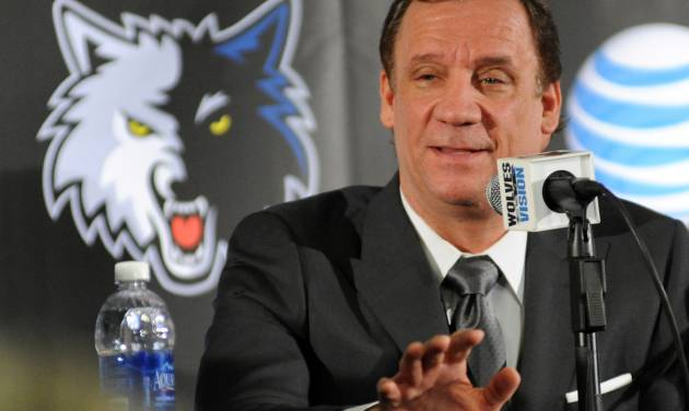 In this photo taken May 3, 2013, former Minnesota Timberwolves head coach Flip Saunders is introduced as the Timberwolves' new president for basketball operations during an NBA basketball news conference in Minneapolis.  It's seems like an odd pairing at first. Saunders, the slick, media savvy executive who wears designer suits. Rick Adelman, the curmudgeonly coach, who dresses in all black every day and has no interest in small talk. Together, they represent this long-suffering franchise's best chance to become relevant again. (AP Photo/The Star Tribune,  Richard Sennott)