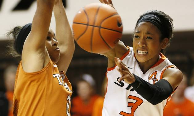 Oklahoma State's Tiffany Bias (3) passes around Texas' Celina Rodrigo (2) during a women's college basketball game between Oklahoma State University (OSU) and the University of Texas at Gallagher-Iba Arena in Stillwater, Okla., Saturday, March 2, 2013. OSU won, 64-58. Photo by Nate Billings, The Oklahoman