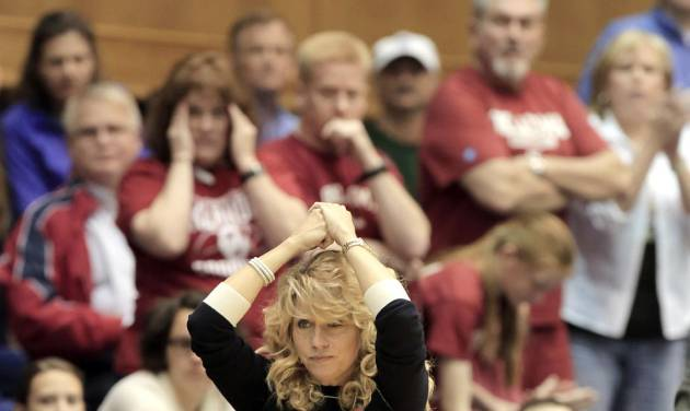 Oklahoma coach Sherri Coale watches from the sideline during the second half of her team's 104-100 loss to DePaul in a first-round game at the NCAA basketball tournament in Durham, N.C., Saturday, March 22, 2014.  (AP Photo/Ted Richardson)