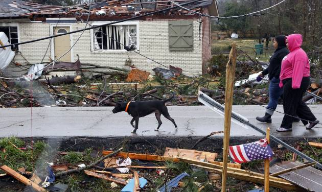 Residents of Petal, Miss., walk their dog through a tornado damaged neighborhood Tuesday, Feb. 12, 2013 following the Sunday afternoon tornado that caused damage throughout the community. (AP Photo/Rogelio V. Solis)